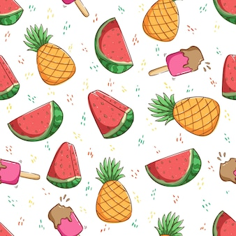 Tropical summer concept in seamless pattern pineapple strawberry ice cream watermelon