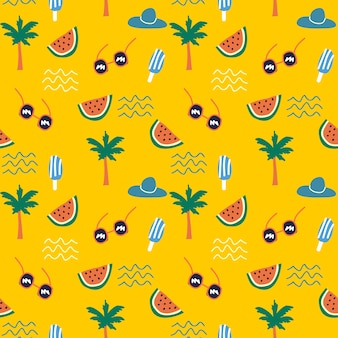 Tropical summer doodle drawing colorful pattern.