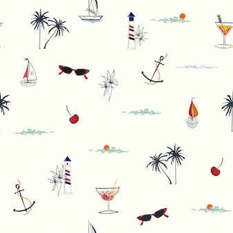 Tropical summer elements pattern