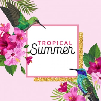벌 새와 열 대 여름 꽃 포스터