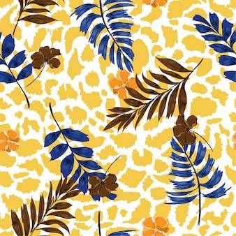 トロピカルな夏の花のサファリは、エキゾチックな動物の肌に葉