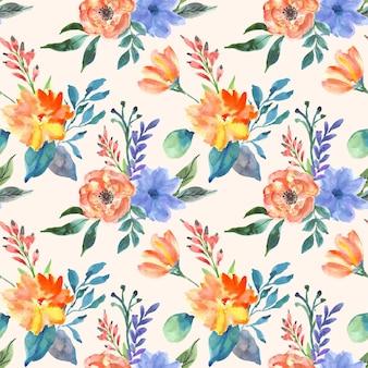 熱帯の夏の花の水彩画のサンプルパターン