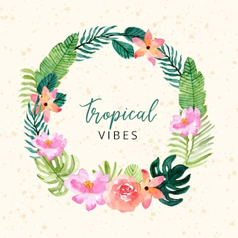 Tropical summer floral wreath watercolor banner
