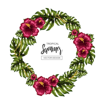 Tropical summer flower frame