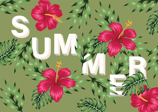 Tropical summer flower lettering
