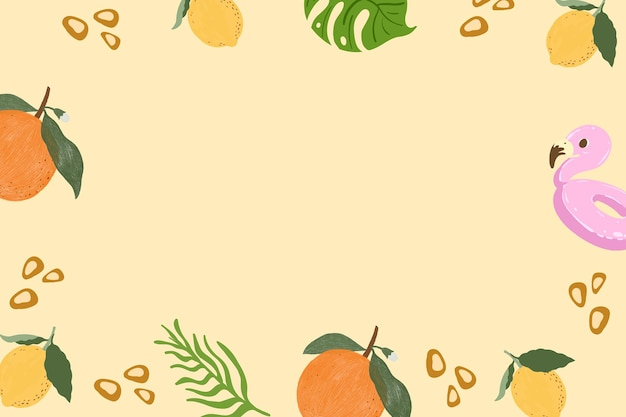 Tropical summer frame on a beige background