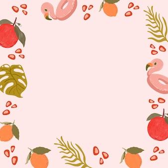 Tropical summer frame on a pink background design
