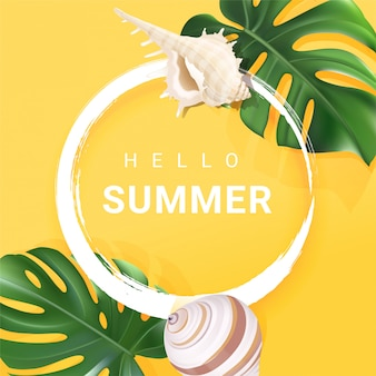 Tropical summer frame with hello summer text