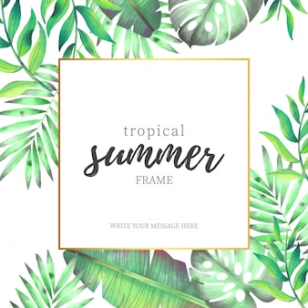 Tropical Summer Frame with Watercolor Leaves
