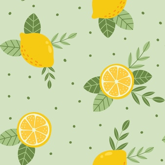Tropical summer fruit seamless pattern. citrus tree in hand drawn style. fabric design with  lemons and leaves