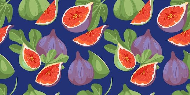 Тропические летние фрукты бесшовные модели. крышка фигового дерева с листьями и плодами. инжир фруктовый узор. векторный дизайн ткани с инжиром, различные сорта фруктов в ярких цветах.