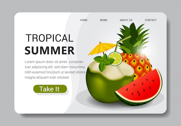 Tropical summer landing page template