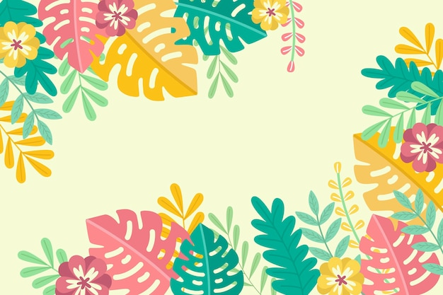 Tropical summer leaves copy space background