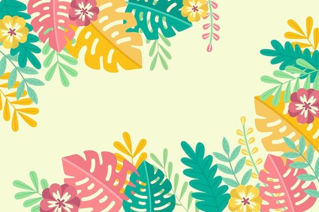 熱帯の夏の葉コピースペース背景