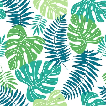 Tropical summer leaves seamless pattern