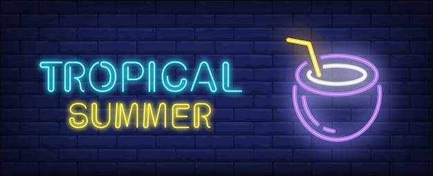 Tropical summer neon style lettering. coconut cocktail on brick background.