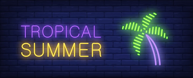 Tropical summer neon style lettering. palm on brick background. bright wall sign.