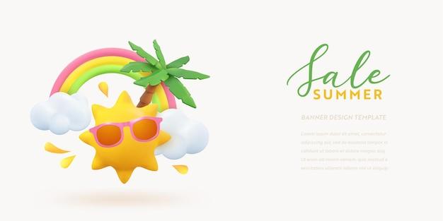 トロピカルサマーオファー3dバナーデザイン。リアルなレンダリングシーンのヤシの木、太陽、虹、雲。トロピックプロモーションセール、ホリデーウェブポスター、季節割引、クーポンパンフレット、バウチャー。夏のレイアウト