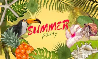 Tropical summer party invitation design
