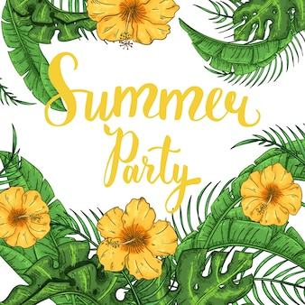 Tropical summer party invitation with palm leaves and exotic flowers