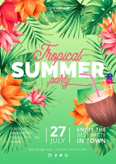 Tropical summer party poster template with coconut
