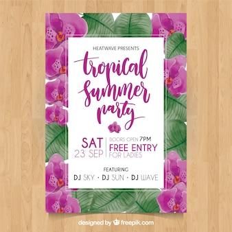 Тропический летний плакат с акварельными цветами
