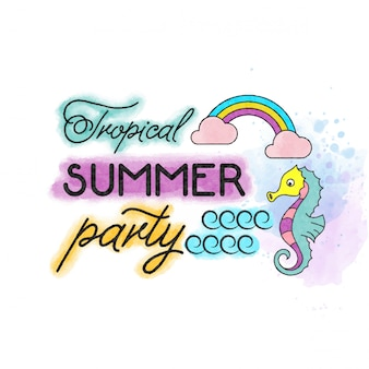 Tropical summer party. watercolor  banner with cute seahorse