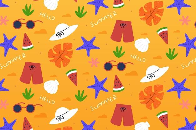 果物と甘い御馳走と熱帯の夏パターン背景