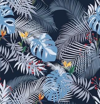 Тропический летний цветочный узор