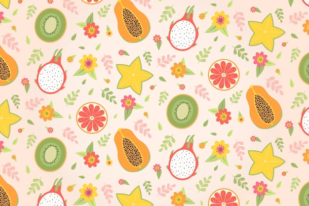 Tropical summer pattern wallpaper with fruits and sweet treats