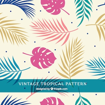 Tropical summer pattern with different plants