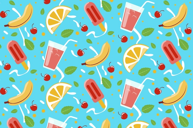 Tropical summer pattern with fruits and sweet treats