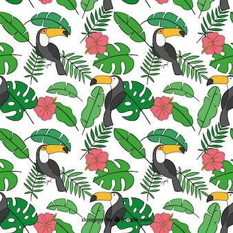 Tropical summer pattern with toucans and plants