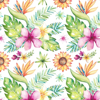 Tropical summer pattern with watercolor flowers