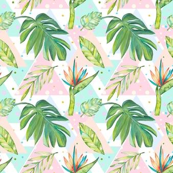 熱帯の夏のパターンと水彩の花