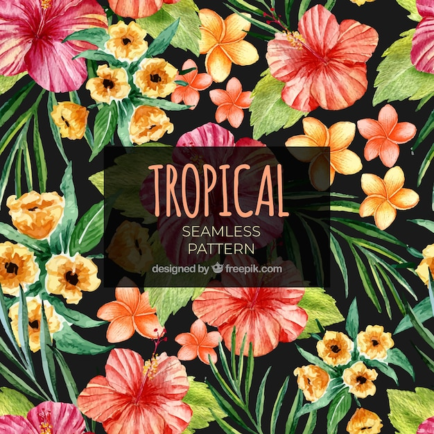 Free Tropical summer pattern with watercolor flowers SVG DXF