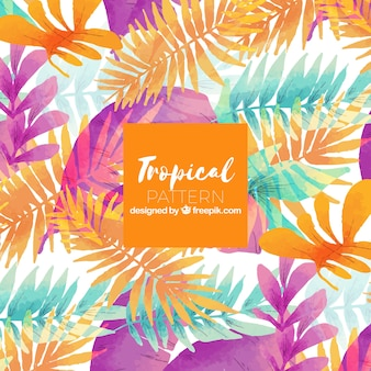 Tropical summer pattern with watercolor plants