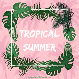Tropical summer pink background