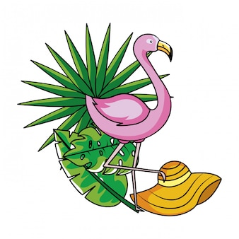 Tropical summer pink flamingo cartoon