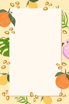 Tropical summer rectangle frame on a beige background
