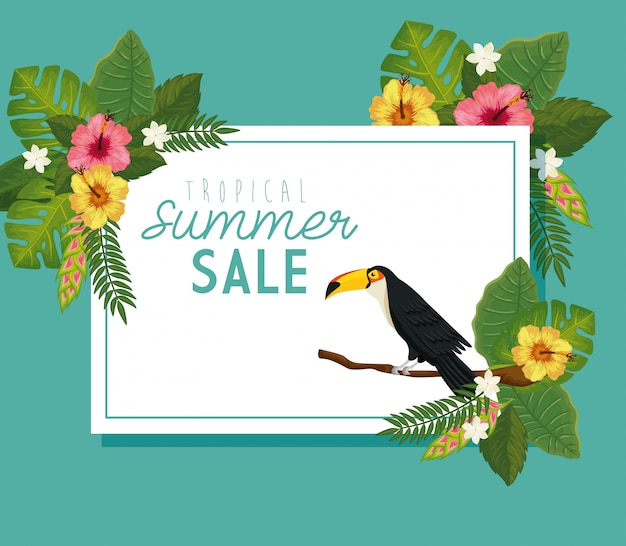 Tropical summer sale banner with frame of flowers and animal exotic