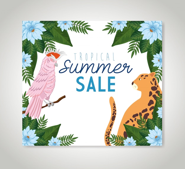 Tropical summer sale banner with frame of flowers with animals exotics