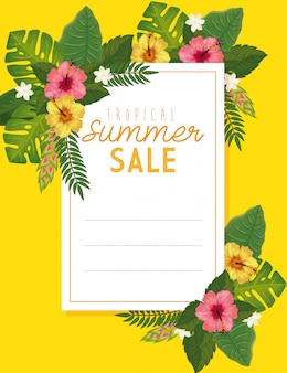 Tropical summer sale banner with frame and flowers