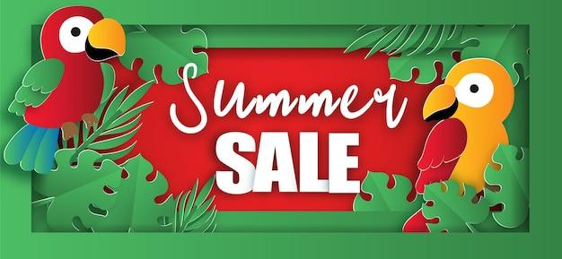Тропическая летняя распродажа баннер с попугаями
