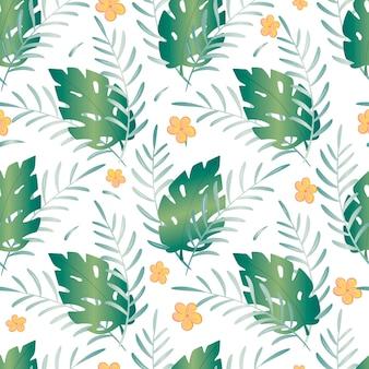 Бесшовный узор из тропического лета. мультяшные листья монстеры и цветы плюмерии. зеленые трендовые ветви растений для украшения фона или обоев.
