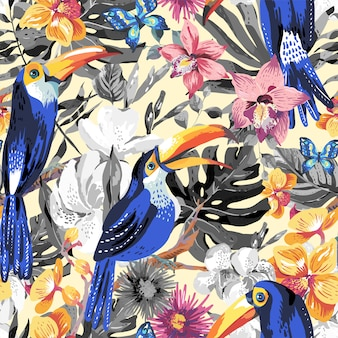 Tropical summer seamless pattern with toucan