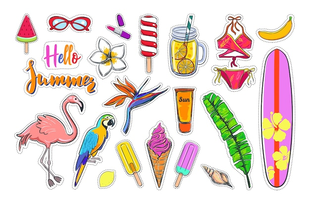 Tropical summer stickers with surfing and flamingo