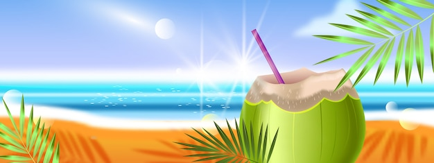 Tropical summer vacation banner with beach, green coconut, ocean, palm leaves.