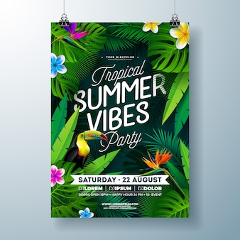 Tropical summer vibes party flyer design with flower, tropical palm leaves and toucan bird on dark background. summer beach celebration template