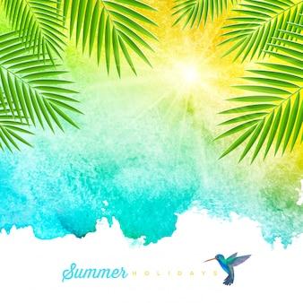 ヤシの木の枝とハチドリ-イラストと熱帯の夏水彩背景